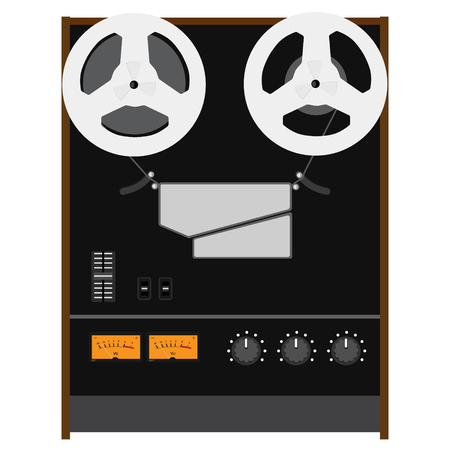 hifi: Raster illustration Hi-Fi analog stereo reel to reel tape recorder deck with UV meter Stock Photo