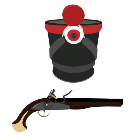 flintlock: Raster illustration military hat and vintage musket gun. Musket or flintlock gun. Infantry shako