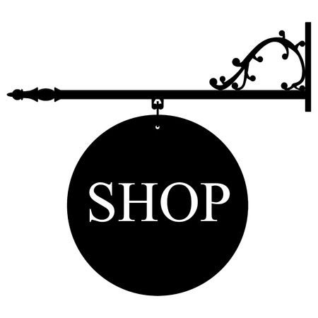 retailer: Raster illustration vintage, old shop sign. Signage shop sign route hanging information banner retailer.