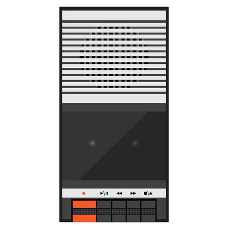 compact cassette: Raster illustration vintage audio tape recorder. Tape recorder icon