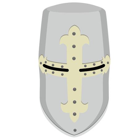 crusader: Raster illustration medieval temlar knight helmet. Metallic crusader armor. Retro style