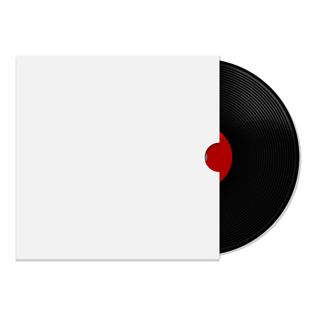 record cover: Raster illustration of red vinyl record with white blank cover Stock Photo