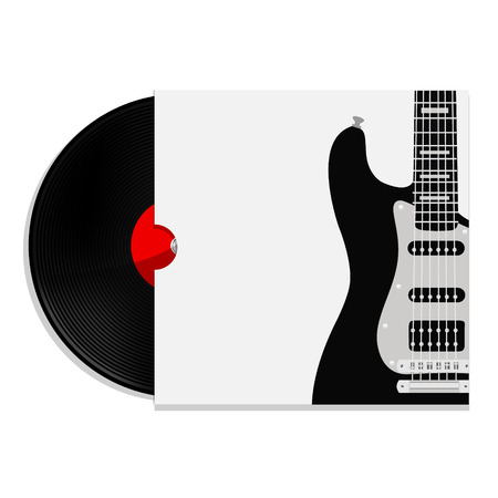record cover: Raster illustration of red vinyl record in cover  music background with black electric guitar. Music poster. Music festival. Guitar poster. Concert poster electrical guitar