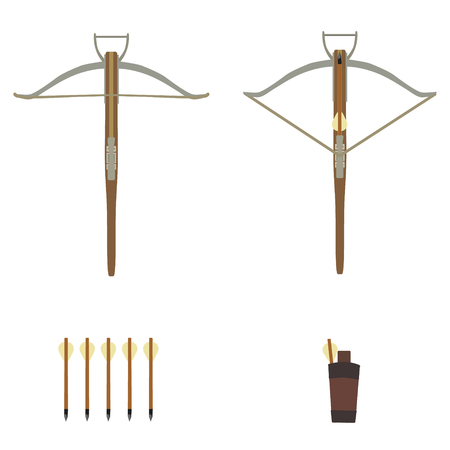 bowstring: Raster illustration medieval knight archer crossbow with arrows set. Stock Photo