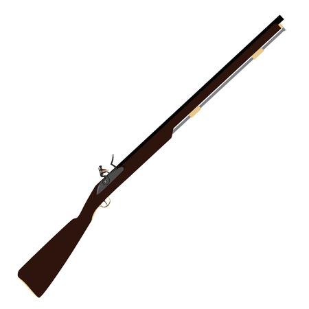 flintlock: Raster illustration of old fashioned rifles. Muskets or flintlock gun.
