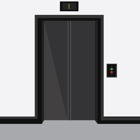 stage door: Raster illustration elevator with closed doors on first floor