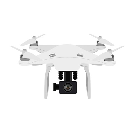 controlled: Raster illustration white quadcopter radio controlled Stock Photo