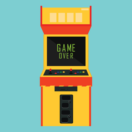 arcade: Raster illustration retro arcade with pixel game over message.