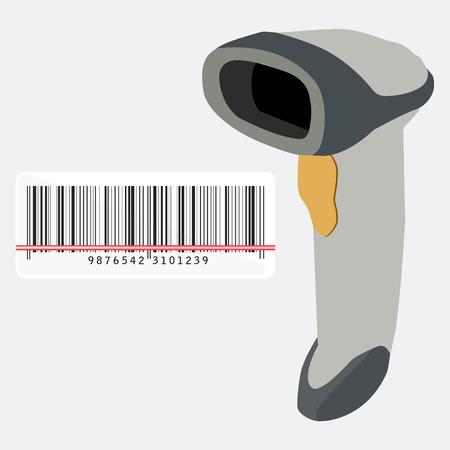 Barcode scanner scanning barcode raster illustration. Bar code scanner icon. Handheld barcode scanner