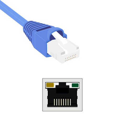 network cable: illustration blue realistic internet network cable and port. Cable icon. internet connector for mobile apps, web sites