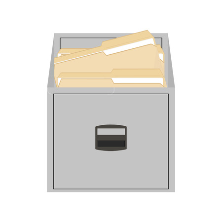 office cabinet: Raster illustration opened card catalog with file folders. Office furniture. Metal filing cabinet. Documents in folder