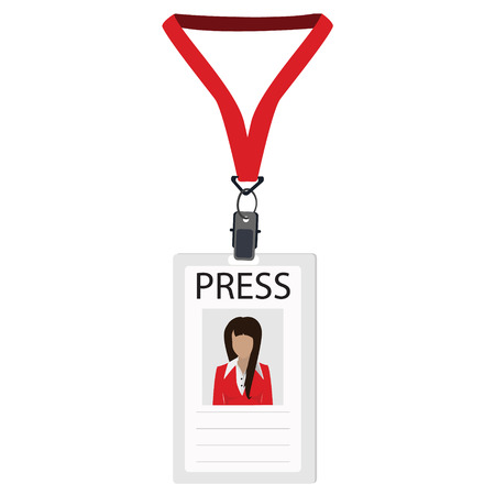 Raster illustration flat design name tag badge template. White plastic lanyard badge with woman photo for press Stock Photo