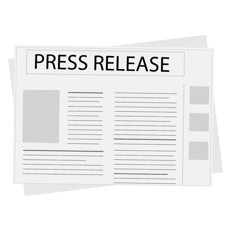 press release: Raster illustration newspaper icon with header press release