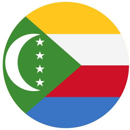 comores: Raster illustration Comoros flag raster icon. Round national flag of Comoros. Comoros flag button