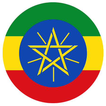 national flag ethiopia: Raster illustration Ethiopia flag raster icon. Round national flag of Ethiopia. Ethiopia flag button