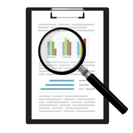 business report: Raster illustration on report, business report with graphs on black clipboard and magnifying glass.  Report icon. Search symbol