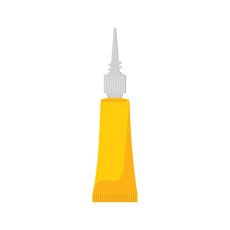 leaking: Raster illustration of yellow tube with super glue. Stock Photo