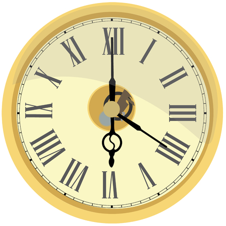 numeral: Golden wall clock raster isolated. Clock on wall shows four oclock. Roman numeral clock Stock Photo