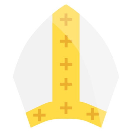 pope: Raster illustration papal tiara, hat with cross. Religion symbol. Pope wearing