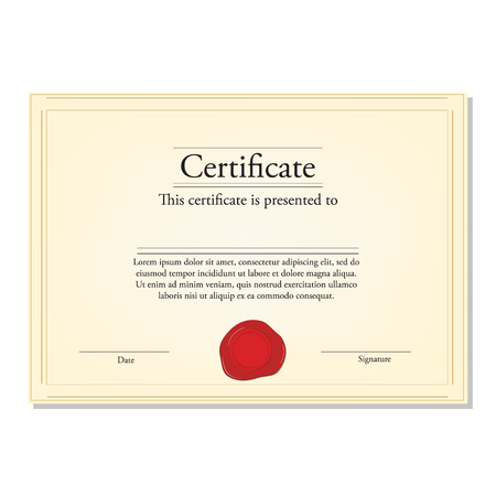 wax stamp: Raster illustration of certificate template with red wax stamp and golden frame. Certificate border. Modern certificate