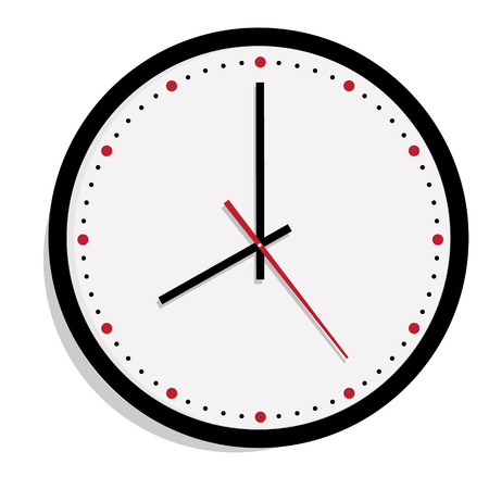 Raster simple classic black and white round wall clock isolated on white. Clock on wall shows eight oclock Stock Photo