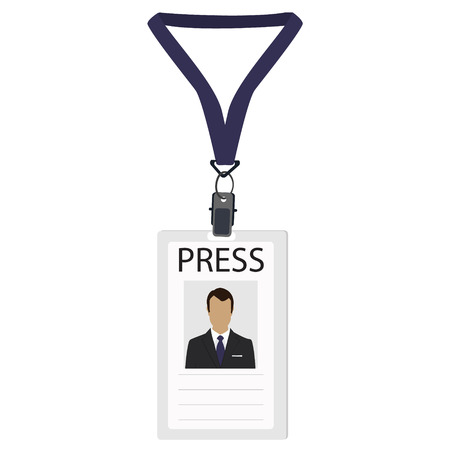 cardholder: Raster illustration flat design name tag badge template. White plastic lanyard badge with man photo for press Stock Photo