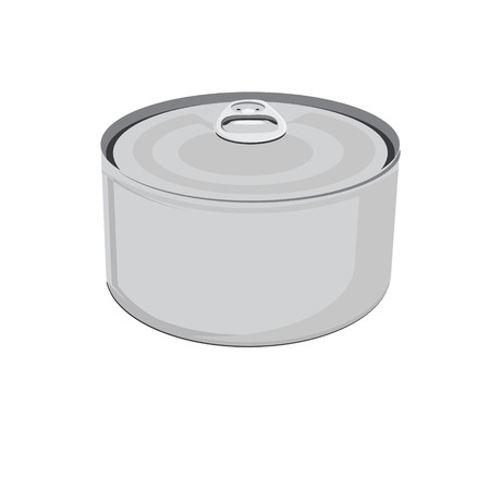 aluminum can: Raster illustration fish conserve. Tin can. Blank aluminum can