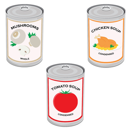 canned food: Raster illustration canned food set, collection. Tomato soup, chicken soup and mushrooms. Metal tin can Stock Photo