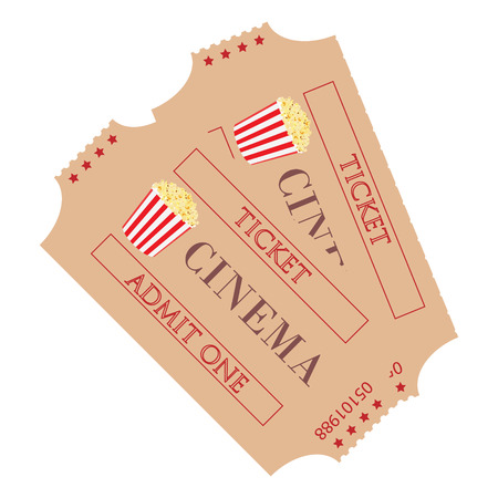 admit: Raster illustration two cinema ticket with popcorn symbol isolated on white background. Admit one. Movie ticket Stock Photo