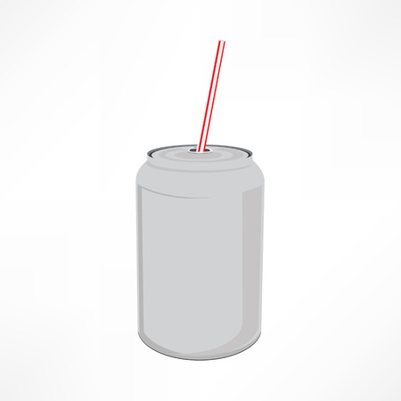 Raster illustration beverage can with straw. Soda can with tube icon.  Blank tin can isolated on white background.