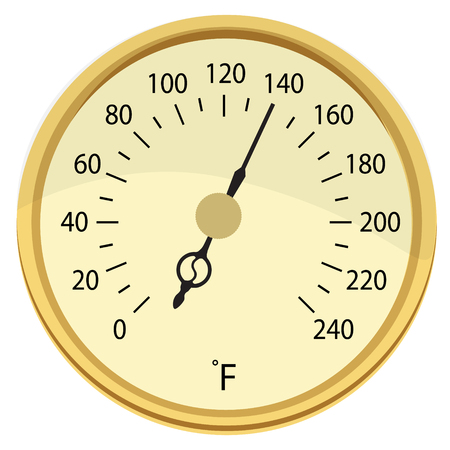 thawing: Raster illustration retro golden food, meat thermometer. Cooking thermometer