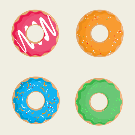 glaze: Raster illustration sweet donuts top view pink, orange, blue and green. Donuts icon set. Collection of tasty donuts