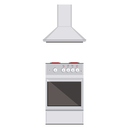 hob: Raster illustration modern electric or gas stove and extractor kitchen hood. House appliance. Kithcen appliance Stock Photo