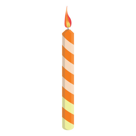 Orange striped birthday candle with flame raster illustration. Place on cake