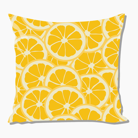 cotton velvet: Raster illustration design template cushion, pillow. Seamless pattern with orange slices