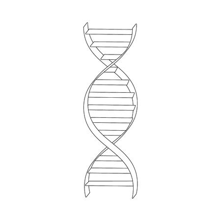 Raster illustration dna spiral outline drawing. Dna symbols icon. Genetic sign, element