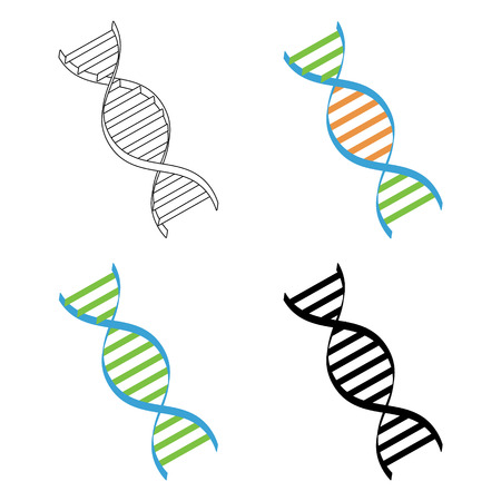 dna spiral: DNA, genetic sign, elements and icons collection. Dna spiral symbol Stock Photo