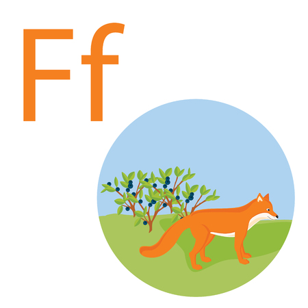 Cute animal alphabet for ABC book. Vector illustration of cartoon animals. Fox for F letter