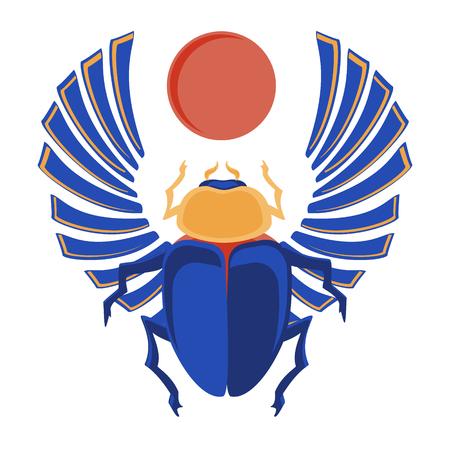 ilustración vectorial escarabajo egipcio. iconos egipcios. insecto sagrado del egipcio un escarabajo en un símbolo del sol