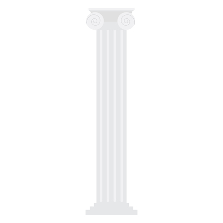 ionic: Vector illustration white antique ionic column isolated on white background. Classic column in Greek Ancient style Illustration