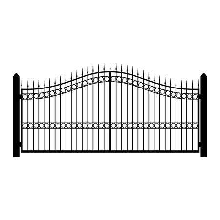 벡터 일러스트 레이 션 단 철 울타리입니다. 오래 된 금속 울타리 또는 게이트입니다. 게이트 실루엣입니다. 현대 단조 문 스톡 콘텐츠 - 61724693