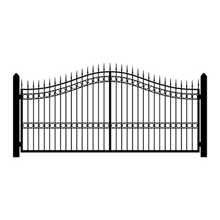 Vector illustration wrought-iron fence. Old metal fence or gate. Gate silhouette. Modern forged gates Vettoriali