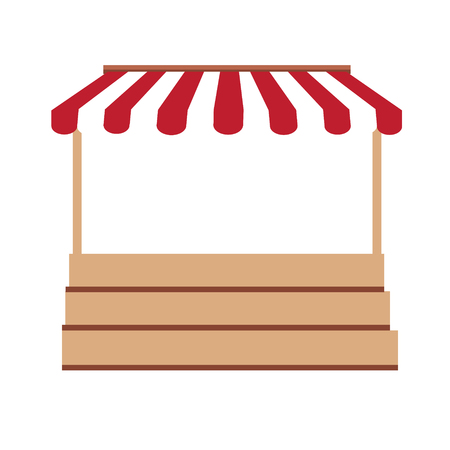 an awning: Vector illustration local market stall. Shop, store empty stand with red, white striped awning