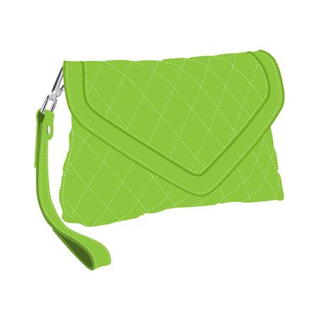 clutch bag: Vector illustration green fashion clutch bag. Clutch purse. Evening bag Illustration