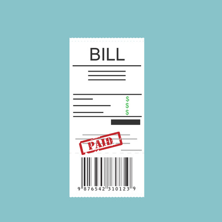 restaurant bill: Vector illustration paying bills concept. Payment of utility, bank, restaurant and other bills. Giving or receiving bill. Bill with red rubber stamp paid.