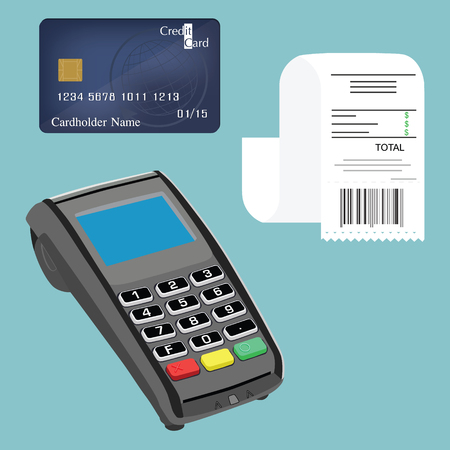 cashless payment: Vector illustration credit card terminal, bill or check and credit card. Cashless payments. Pos payment and credit card payment concept.