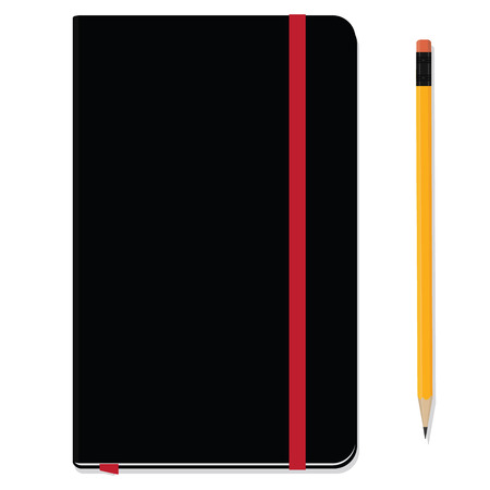 moleskin: Blank copybook template with elastic band and bookmark. Black notebook moleskin and yellow pencil with eraser. Stationery tools