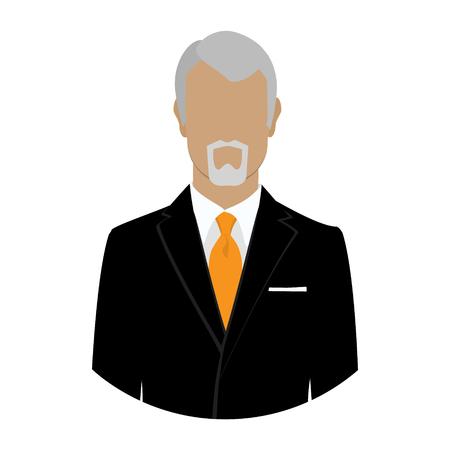 male portrait: Senior businessman boss owner flat profile icon male portrait vector illustration. Avatar flat design