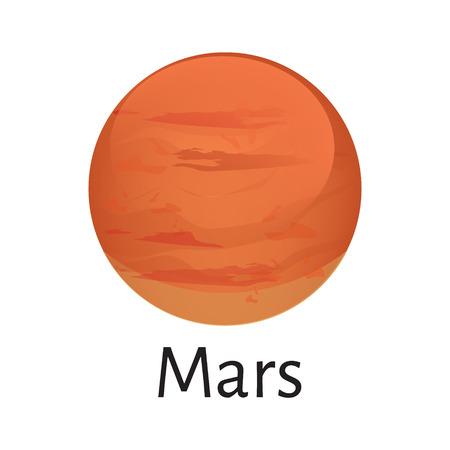 Vector mars illustration planète du système solaire. Planète rouge. Planète Mars icône