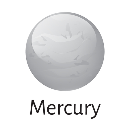mercury: Vector illustration mercury planet from solar system. Mercury planet icon